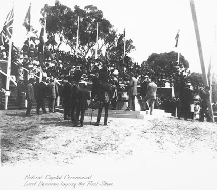 Photo of Federal Capital Ceremonial, Lord  Denman, Govenor General, laying the First Stone, 1913