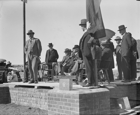 Ceremony of the laying of the Foundation Stone of the Methodist National Memorial Church, Reid. Sir John Butters speaking.