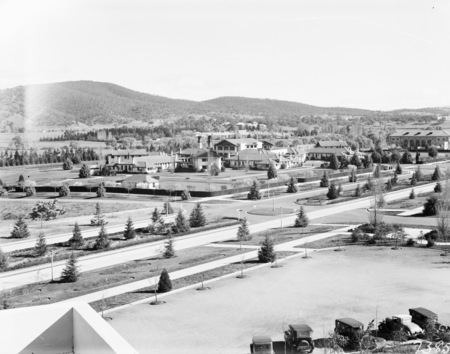 Commonwealth Avenue, Hotel Canberra and Albert Hall from West Block Offices.