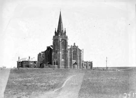 St Andrew's Presbyterian Church, St. Andrews House on the left. State Circle, Forrest.