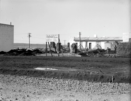 Kingston construction site with notice' Shops for FW Hyles'