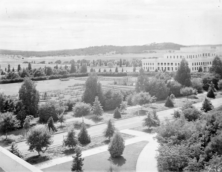 Parliament House and gardens from West Block. Mt. Pleasant on the horizon.