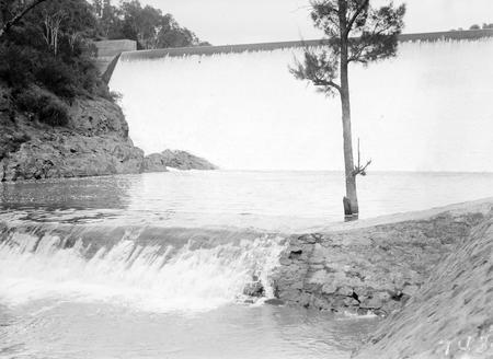 Cotter Dam spillway and stilling pond.