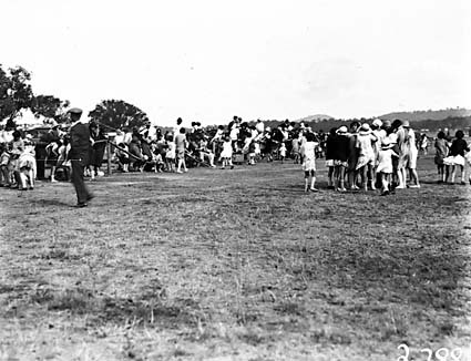 Crowds at a school sports day, Acton Sports Ground.
