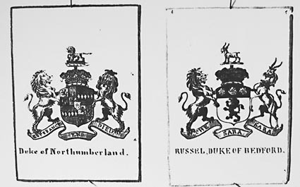 Photos of a collection of English Coats of Arms.Duke of Northumberland and Russel, Duke of Bedford