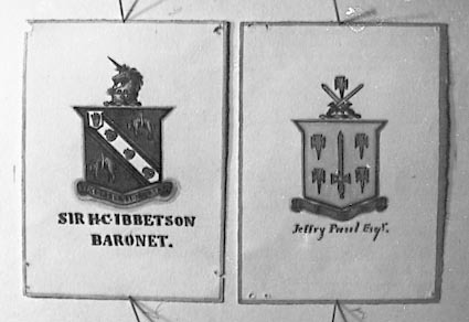 Photos of a collection of English Coats of Arms. Sir H C Ibbetson, Baronet and Jeffry Paul, Esq