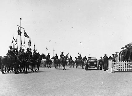 Armistice Day -Arrival of the Governor General, Lord Stonehaven in car with Light Horse escort in front of Parliament House