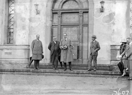 Opening of Church of England Mens Society. Prime Minister, Right Honourable SM Bruce speaking, Sir George Pearce and Governor-General at entrance to the Australian Forestry School, Banks St., Yarralumla.
