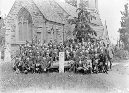 Opening of Church of England Mens Society. Group of Delegates in grounds of St John's Church.