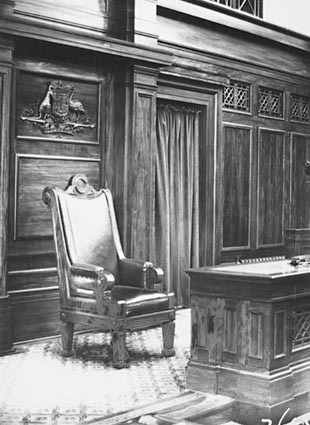 Parliament House Senate Chamber. President of the Senate's chair, presented by the Canadian Government