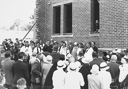 Laying of foundation stone at Church of England Boys Grammar School. Clergy and visitors