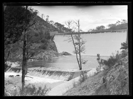 Cotter Dam wall spillway and stilling pond.