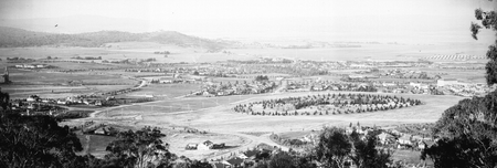 Panoramic view from Red Hill over Collins Park to Kingston and Duntroon.