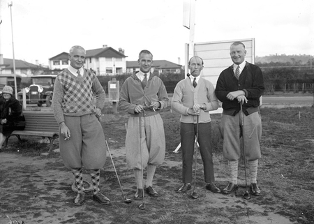 Golfers on the first tee at Canberra Golf Club near the Hotel Canberra. Left to right: George H. Romans, W. J. Mildenhall, Karl Schneider and G. Dawkins.