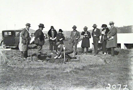 Tree planting ceremony in Commonwealth Avenue by members of the Town Planning Association