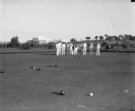 Bowlers on the bowling green at the Hotel Canberra.
