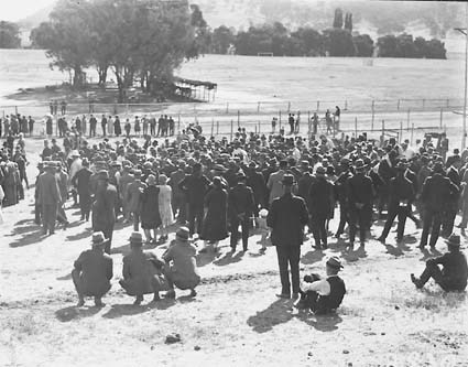 Part of a crowd of race goers at the race meeting, Acton Race Course.