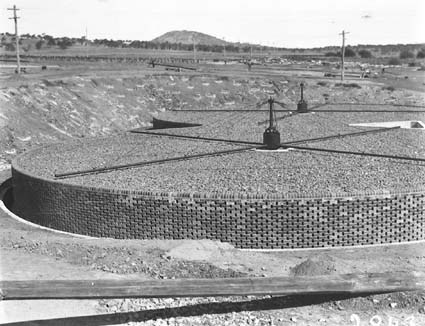 Weston Creek sewerage treatment works. Trickling filters completed.