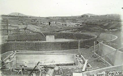 Weston Creek sewerage treatment works, trickling filters under construction