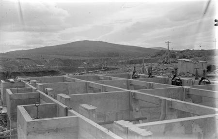 Weston Creek sewerage treatment works, Imhoff sedimentation and activated sludge tanks, under construction.