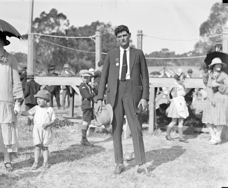 Walter Ernest Johnson after presentation with a Bronze Medallion for rescuing two airmen (named Pitt and Riley) from a blazing aircraft wreck near Everton Station, Gundaroo, at the annual Highland Games on Acton Flat.