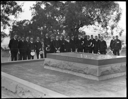 Visit to Canberra of Royal Navy Officers from HMS Renown - Party at the grave of General Bridges, Mount. Pleasant,Duntroon
