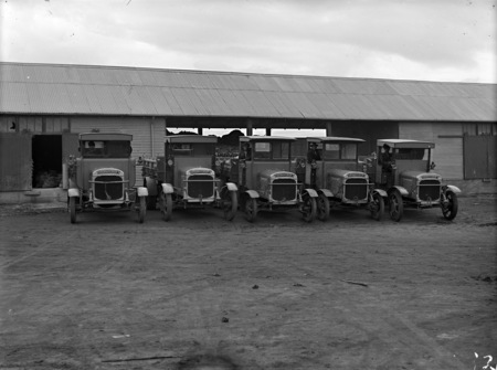 Five Thorneycroft motor trucks in front of garage at Kingston.