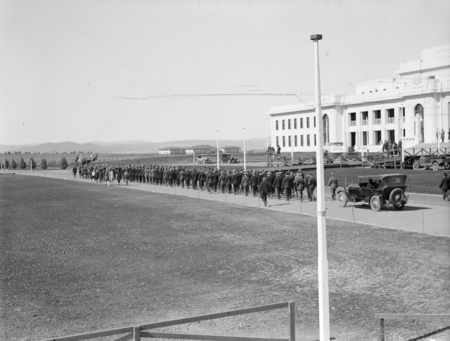Anzac Day, 1927. Parade passing Parliament House.