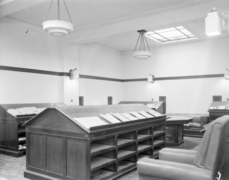Newspaper benches in Parliament House Library.