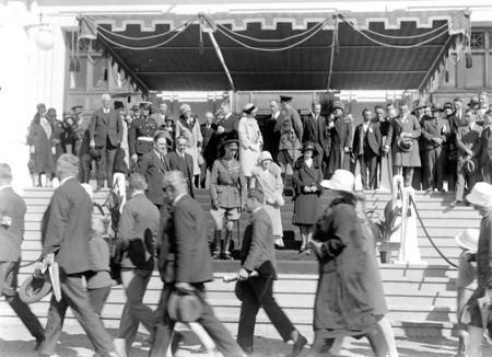 Royal Visit, May 1927. Canberra citizens passing the Royal Party on the front steps of Parliament House at the Civic Reception.