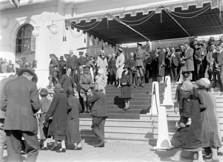 Royal Visit, May 1927. Canberra citizens passing the Royal Party on the front steps on Parliament House at the Civic Reception.
