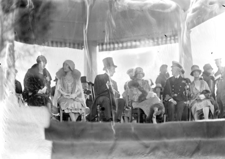 Royal Visit, May 1927. Some of the Royal party seated in the dais, Lady Butters, Duchess of York, Rt Hon S M Bruce.