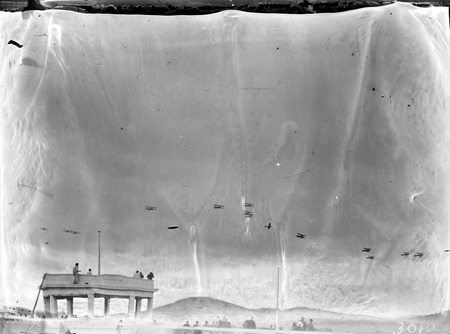 Royal Visit, May 1927 -RAAF aircraft in fly past of the Dais in York Park