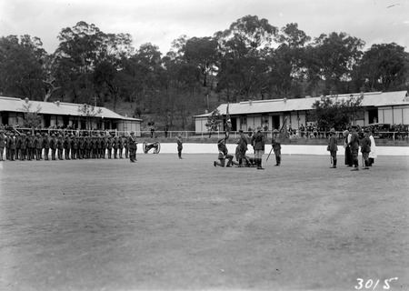 Royal Visit, May 1927 - Presentation Regimental Colours by the Duke of York on the parade ground at Duntroon