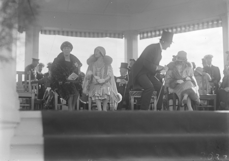 Royal Visit, May 1927. The dais at the Royal Review showing the Duchess of York and Prime Minister Hon S M Bruce.