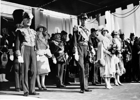 Royal Visit, May 1927. The Official Party. Duke and Duchess of York with the Governor General [Copy photograph].