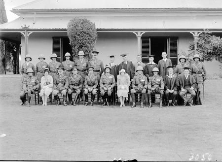 Royal Visit, May 1927. The Duke and Duchess of York with the staff of Duntroon Royal Military College in front of the Officers Mess, Duntroon House.