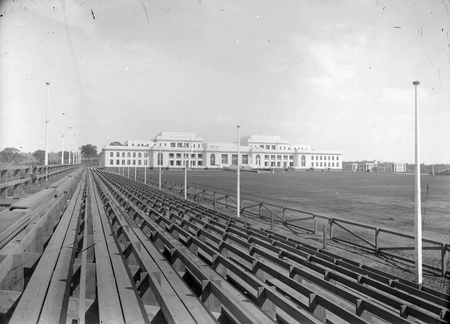 Royal Visit, May 1927. Parkes Place and Parliament House from spectators stands.