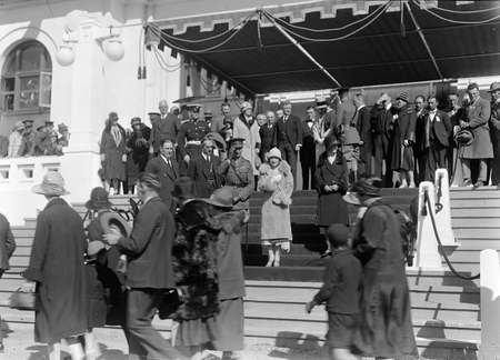 Royal Visit, May 1927. Canberra citizens passing the Duke and Dutchess of York on the steps on Parliament House at the Civic Reception.