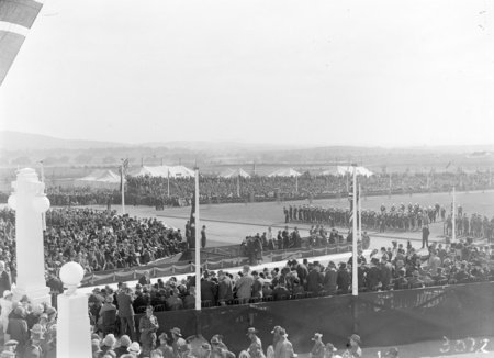Royal Visit, May 1927. Troops, spectators and Army Band outside Parliament House and official guests awaiting the arrival of the Royal Party.