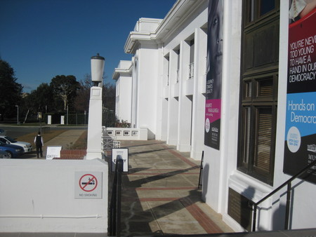 View across the front balcony of Old Parliament House