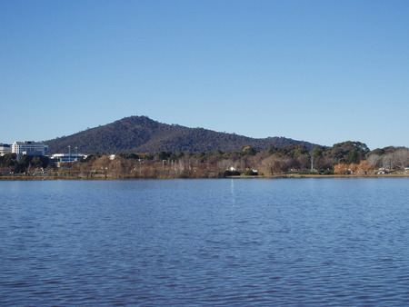 View from National Museum, Acton of Lake Burley Griffin, under which the site of the original Acton racecourse sits