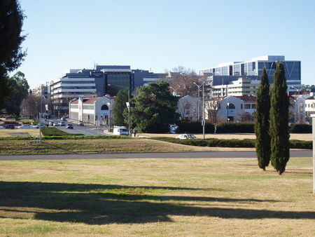 Modern day view from City Hill towards Civic showing the Sydney Building