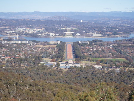 View from Mt Ainslie lookout showing the Australian War Memorial, Anzac Parade, Lake Burley Griffin, Old and New Parliament House