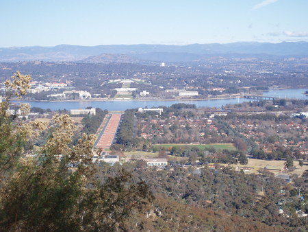 View from Mt Ainslie lookout showing Reid, Lake Burley Griffin, Old and New Parliament House