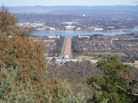 View from Mt Ainslie down Commonwealth Avenue towards Old and New Parliament House