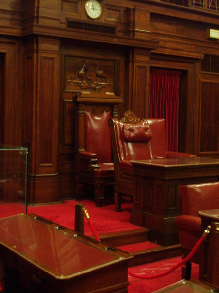 Current view of Senate's chair (with Speaker's chair)