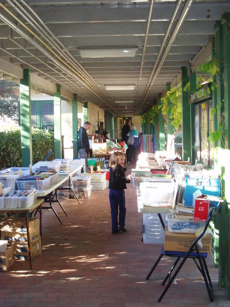 Covered walkway during Saturday markets