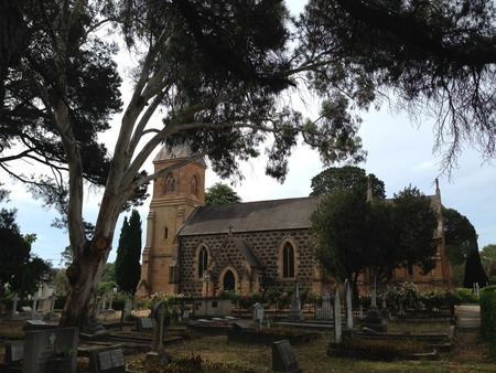 The big gum tree on the left, which doesn't exist in the original photo, is starting to lift some of the graves with its roots. It's nice that they took the ivy off the church, the stonework is so pretty.
