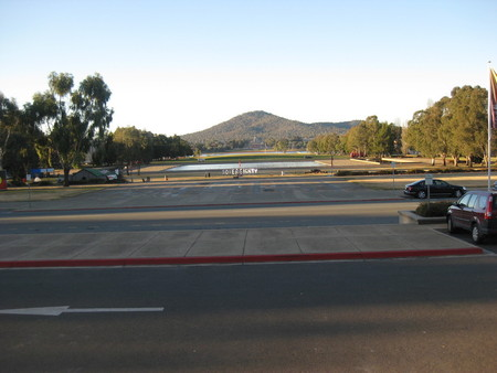 View towards Mt Ainslie without the royal arrival